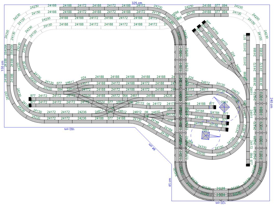 Trackplan with C-track and R1/R2 curves